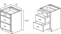Cherry Shaker Three Drawer Base Cabinet
