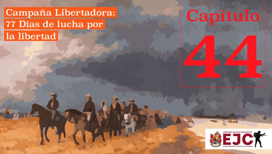 Simón Bolívar y su retaguardia descansan en Quebradas, Socotá