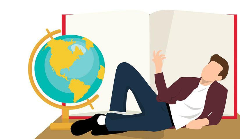 Imagen animada de un hombre recortado con un mapamundi a sus pies