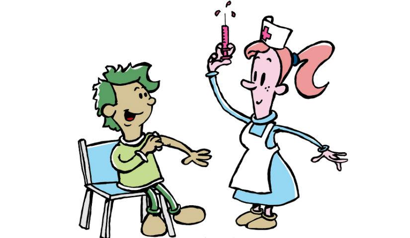 Imagen animada de una enfermera vacunando a un niño