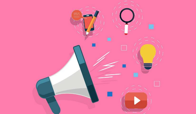 Imagen animada de un megafono al lado de um bombillo y el logo de Youtube