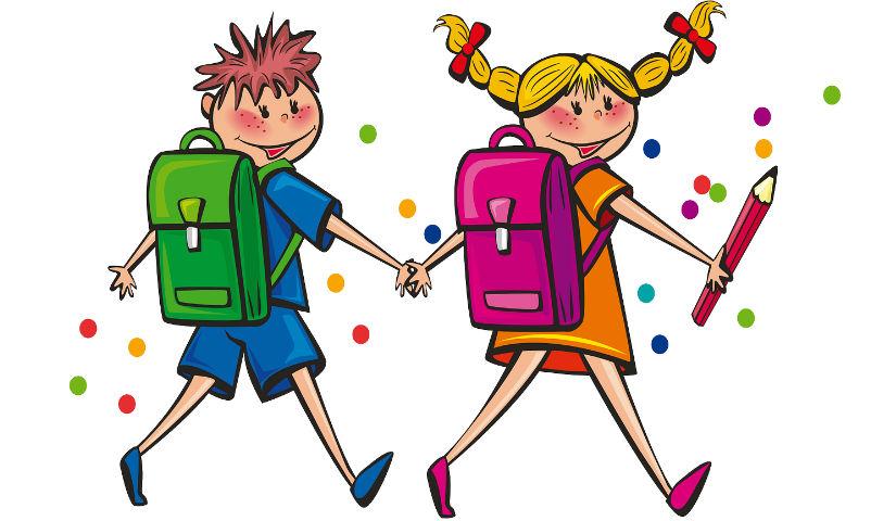 Imagen animada de dos niños con colores en las manos