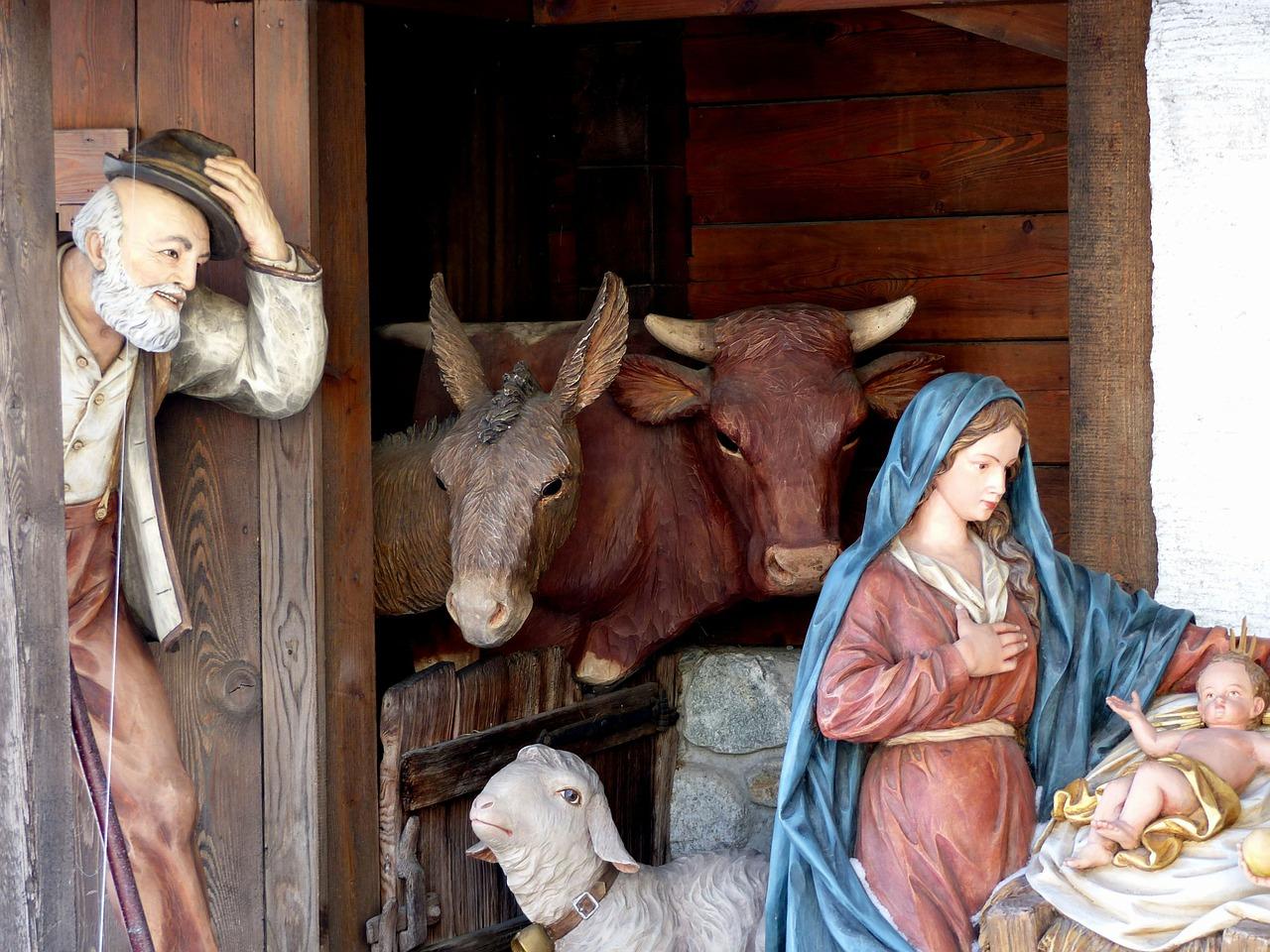 Imagen que recrea la visita de pastores al niño Jesús