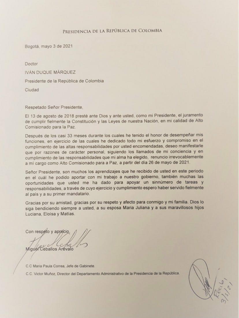 carta de renuncia alto comisionado para la paz