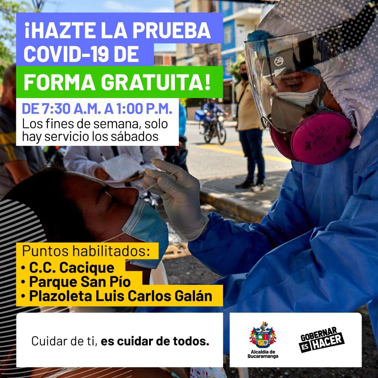horarios para la prueba covid 19 gratis en Colombia