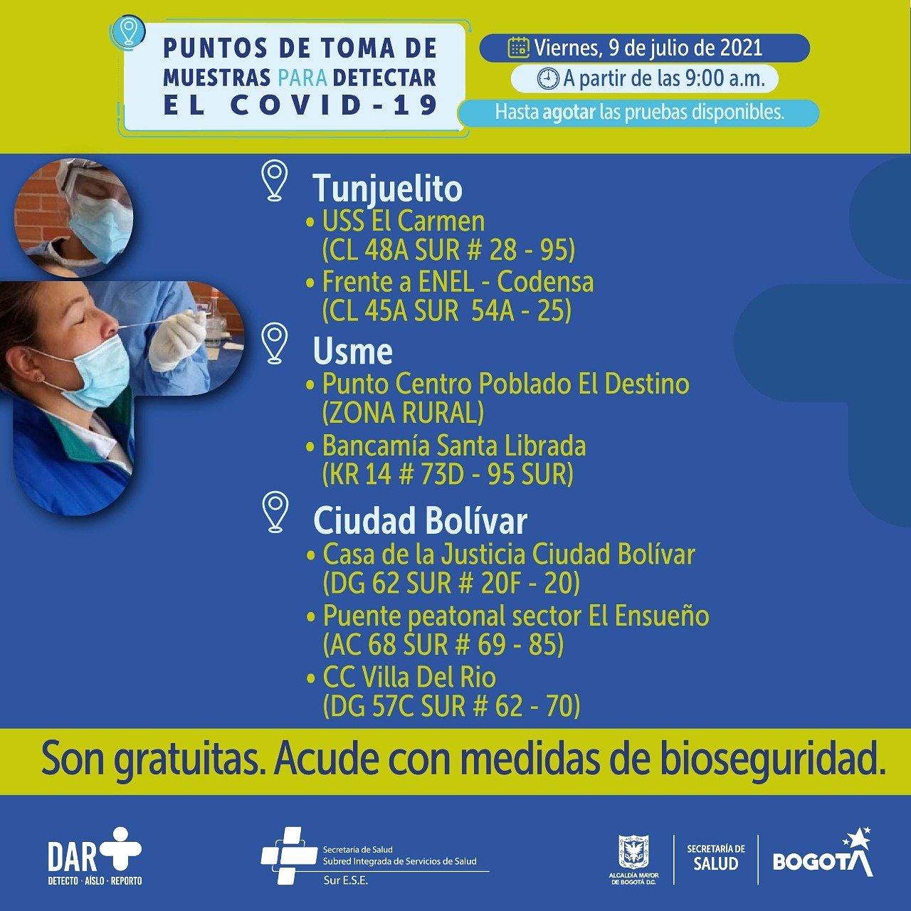 pruebas gratis covid Bogotá