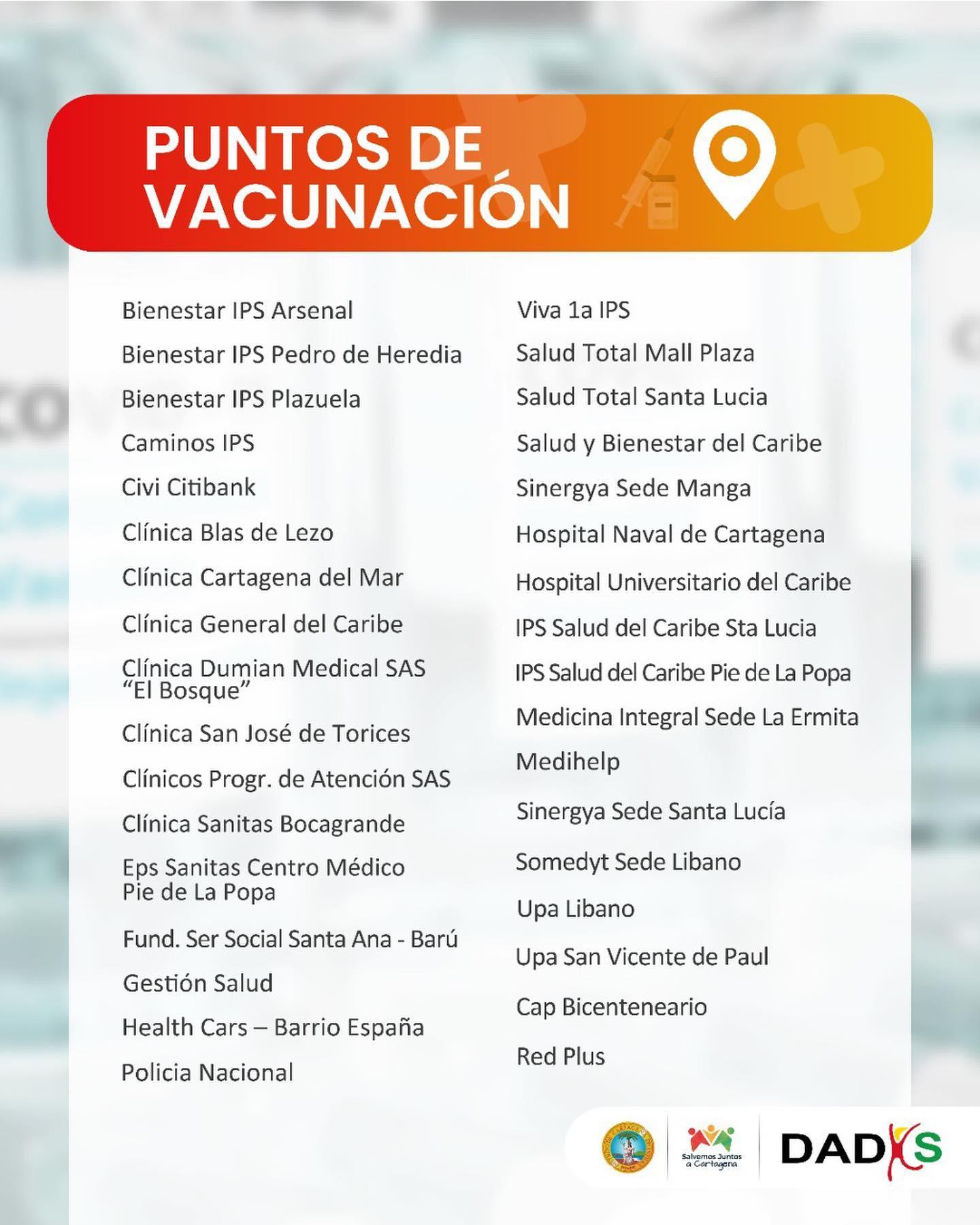 puntos de vacunación Cartagena