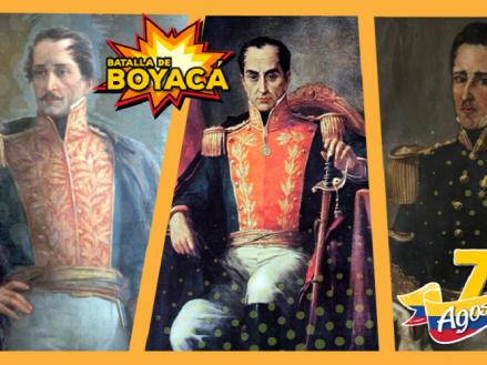 Imagen de los héroes Simón Bolívar, Francisco de Paula Santander y José María Córdova