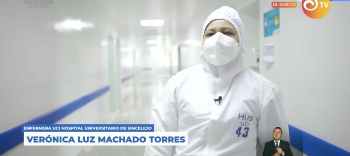 Verónica Machado, primera mujer en ser vacunada en Colombia
