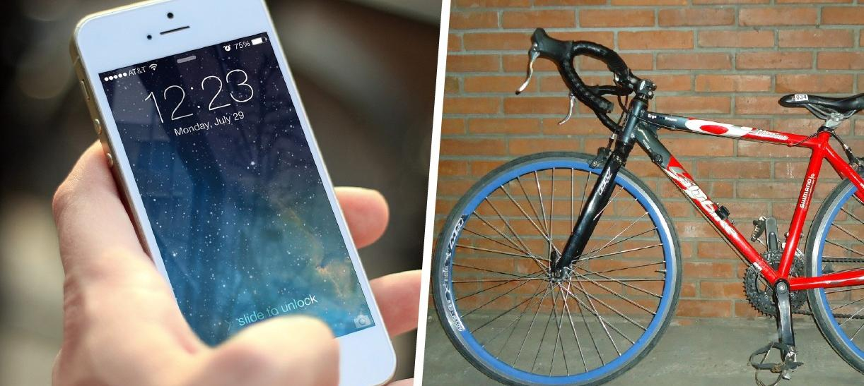 celular y bicicleta