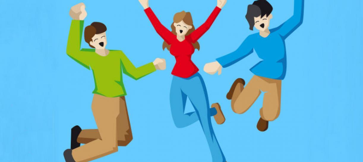 Imagen animada de tres jóvenes