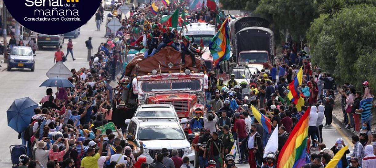 minga indígena en su llegada a Bogotá