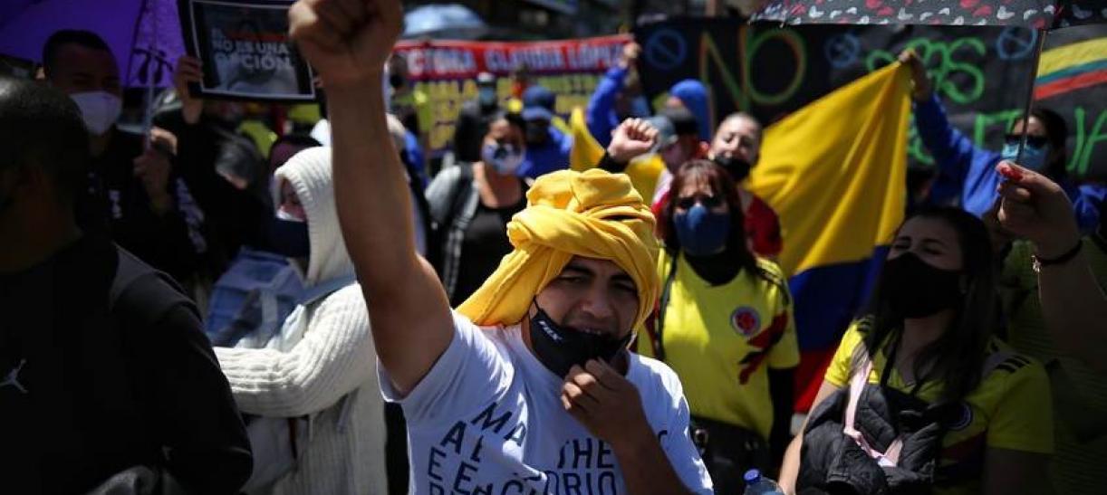 Protesta social de comerciantes en Colombia