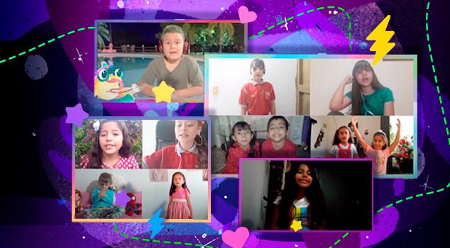 Niños participantes de los coros virtuales de Profe en tu casa