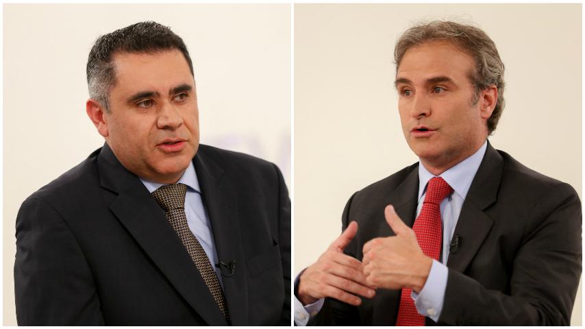 Pablo Felipe Robledo, superintendente de Industria y Comercio y Juan Carlos Villalba, presidente de Con-summa en Conversemos de Economía