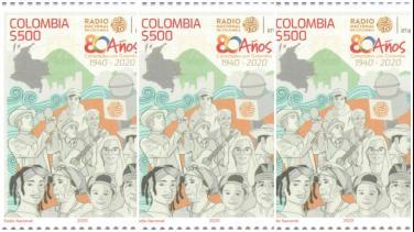 Estampilla Radio Nacional de Colombia 80 años