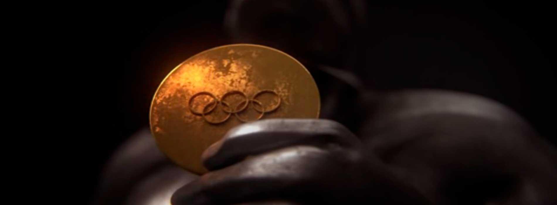 Medalla de oro de los olímpicos sostenida por una estatua ilustrada en la serie 'el efecto mariposa'