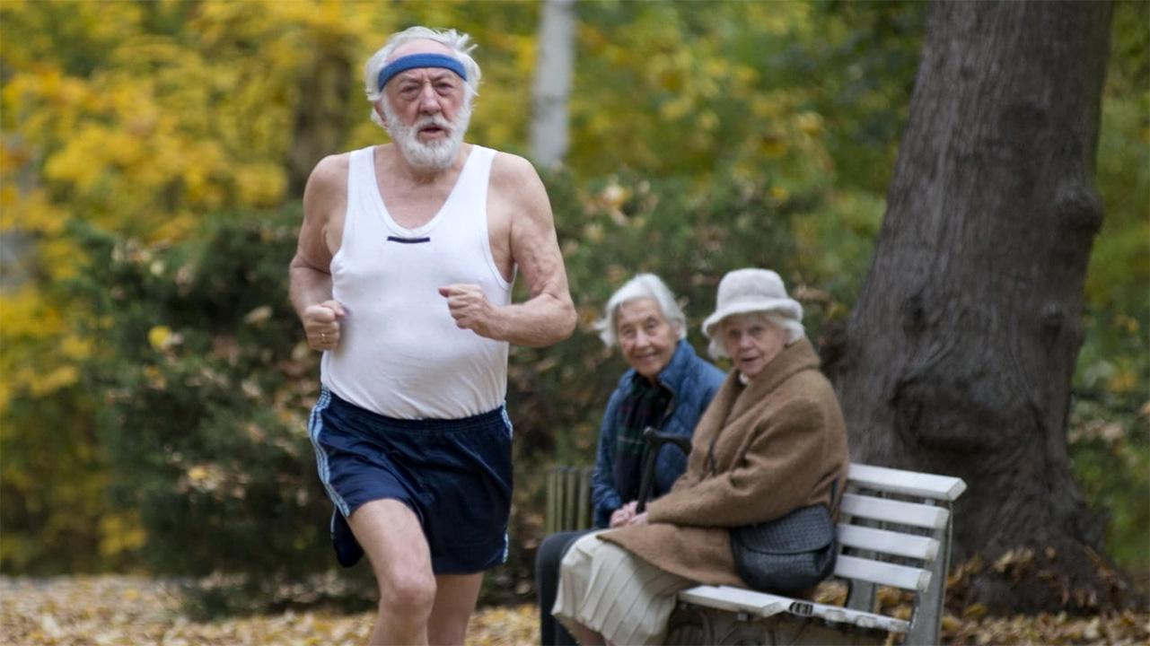 Un adulto mayor hace ejercicio en un parque.