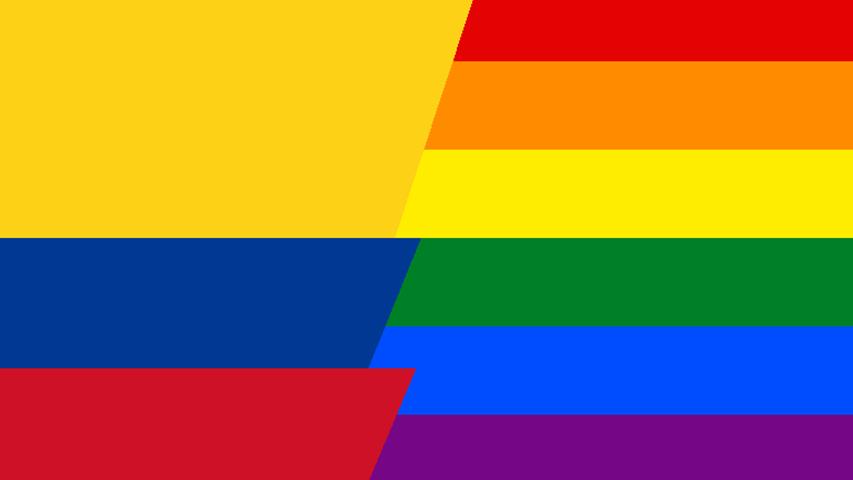 Bandera de Colombia y bandera de movimiento LGBTI