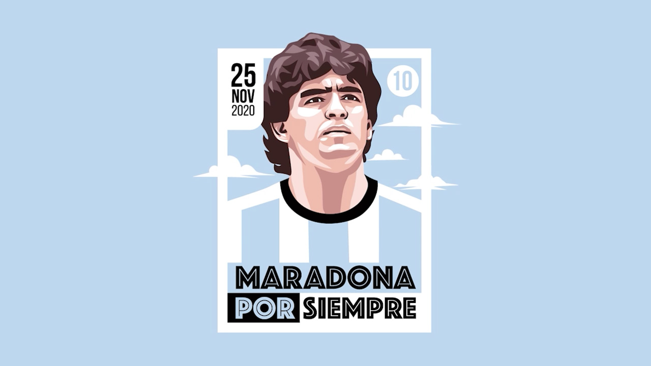 Ilustración de Diego Maradona