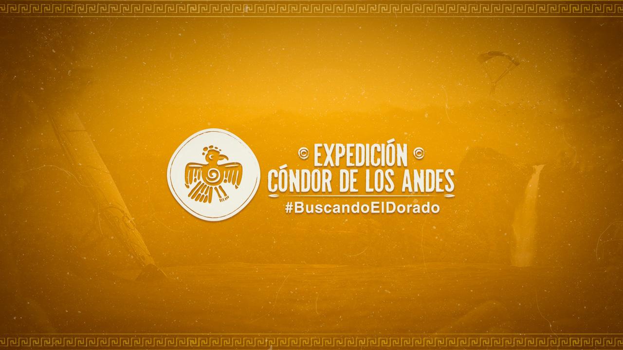 Logo de Expedición Cóndor de los Andes en fondo dorado.