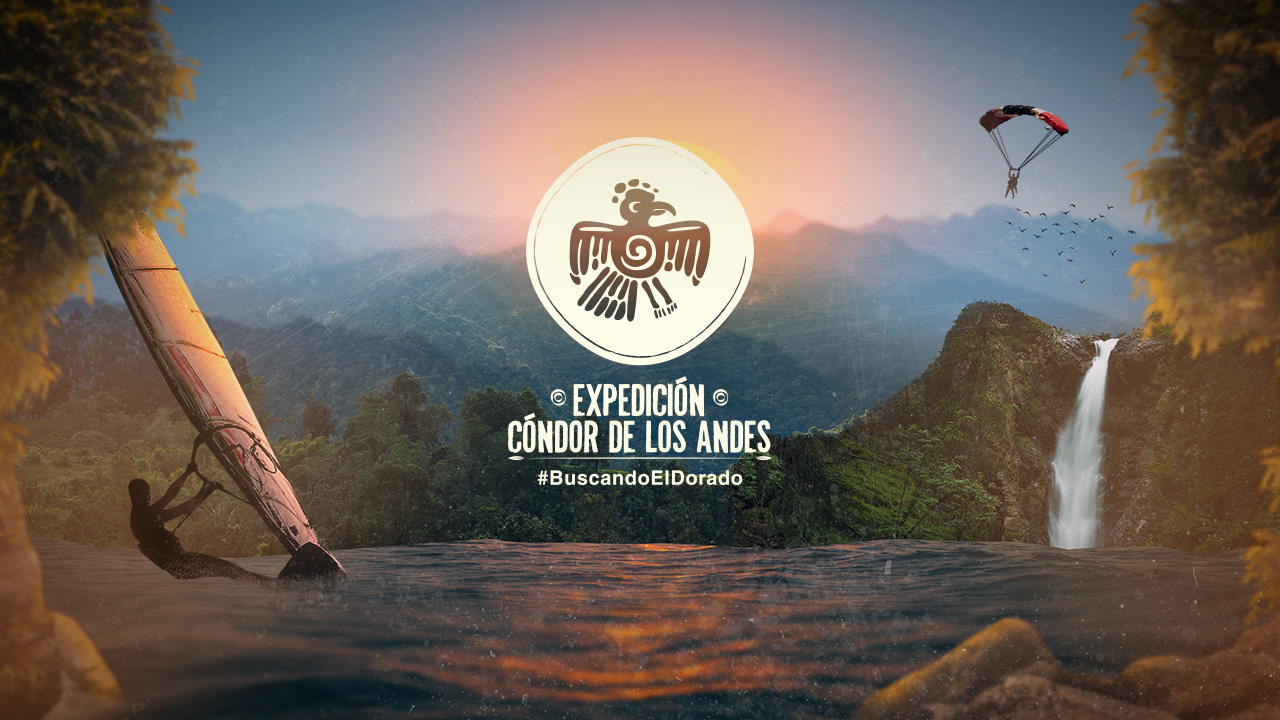 Logo de Expedición Cóndor de los Andes en fondo de naturaleza.