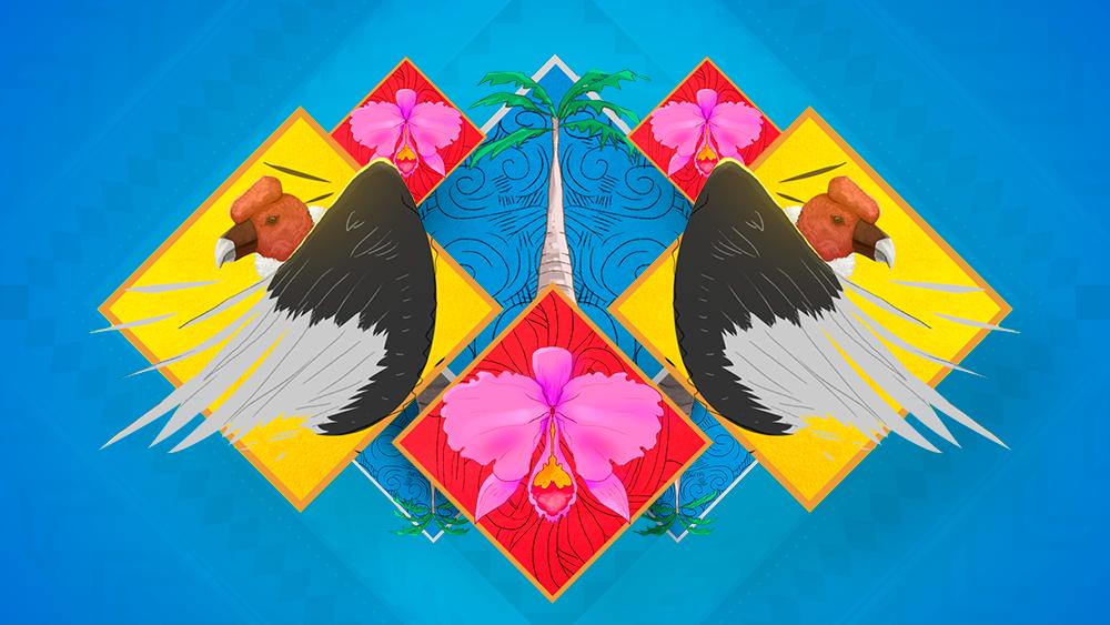 Cóndor, palma de cera y orquídea.