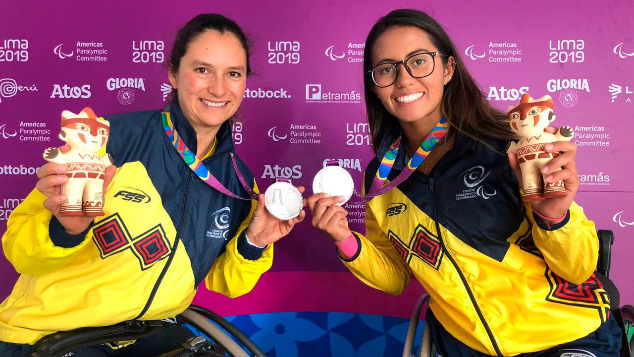 María Angélica Bernal durante la premiación de dobles en los Parapanamericanos de Lima 2019.