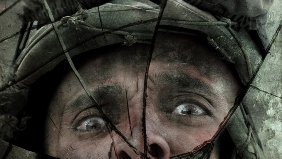 Rostro asustado de un soldado