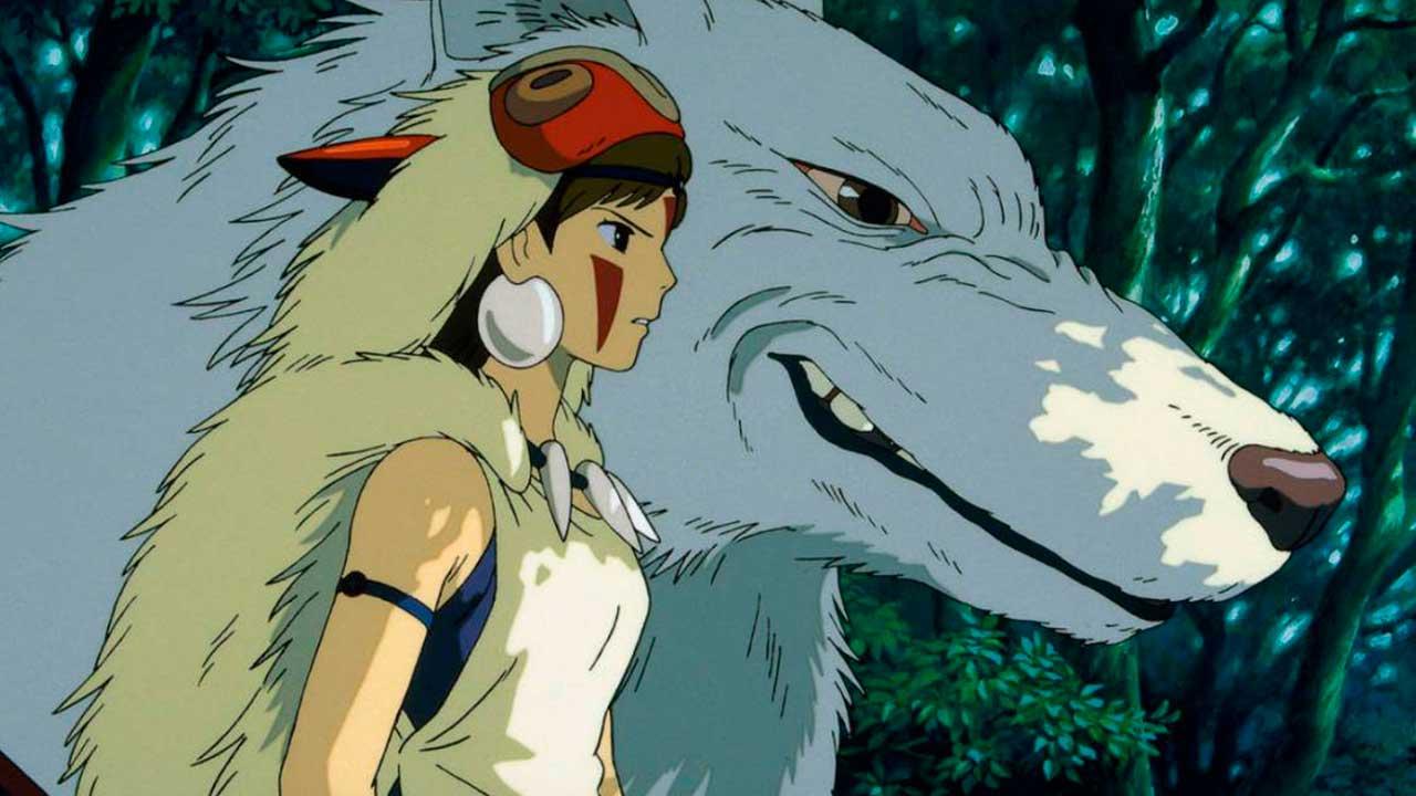 Una joven junto a un lobo en la película La princesa Mononoke
