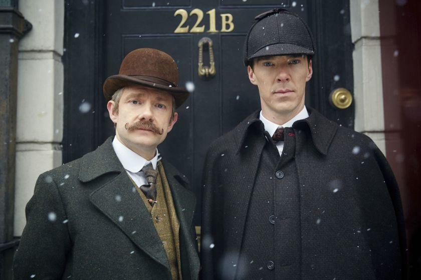 Los actores Martin Freeman y Benedict Cumberbatch en la serie Sherlock.