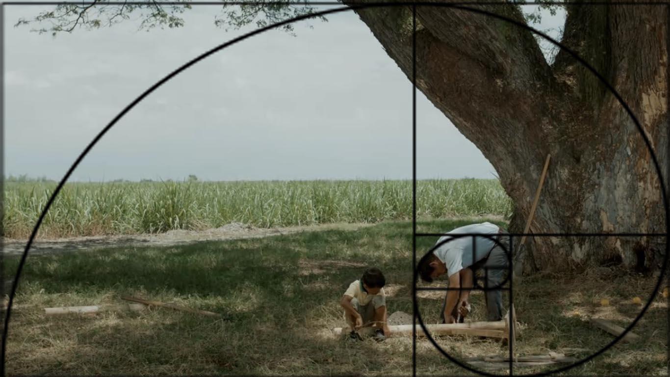 Fotograma de la película La sombra y la tierra con gráfico de proporción Áurea.