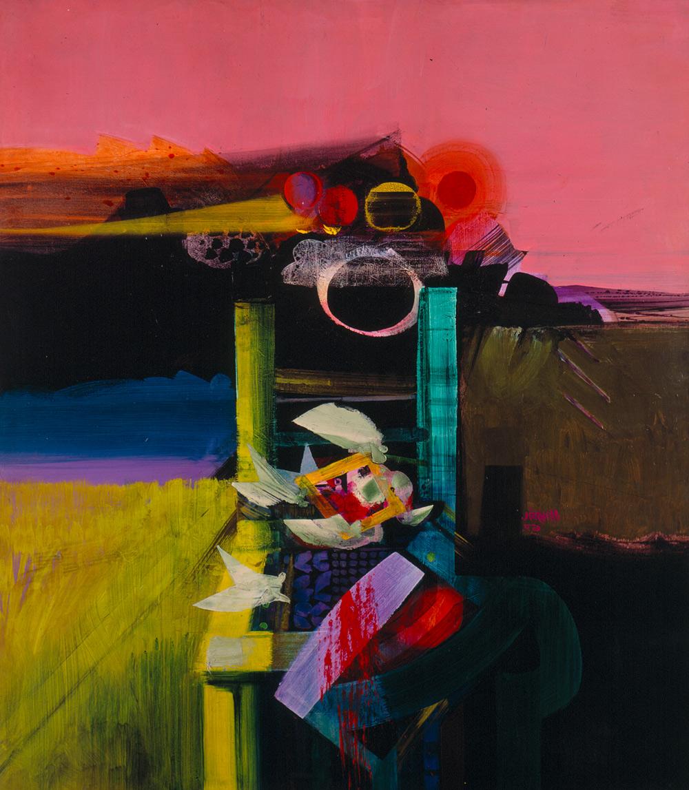 Imágen de la pintura Ícaro Calcinado, del pintor Alejandro Obregón. Imágen de la galería del Banco de la República de Colombia.