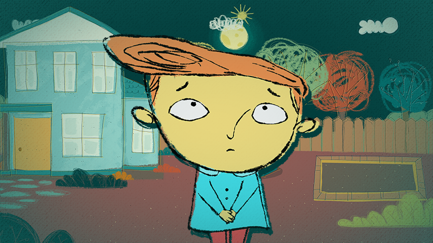 Personaje de la serie petit aparece en el centro de la pantalla en una noche animada