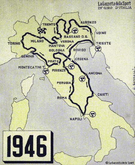 Recorrido Giro de Italia en 1946