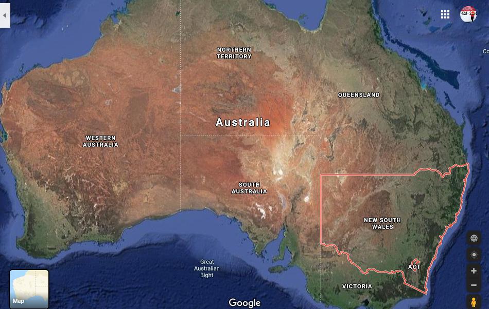 Así se ve el estado de Nueva Gales del Sur desde el espacio.