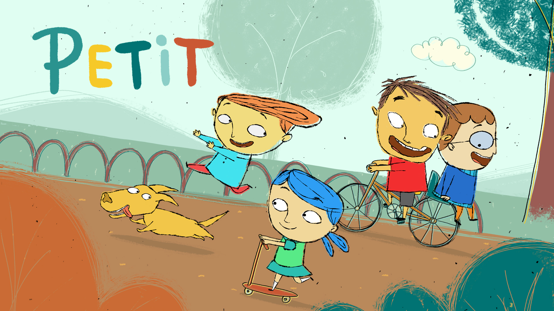 los personajes de la serie petit juegan en un patio de juegos