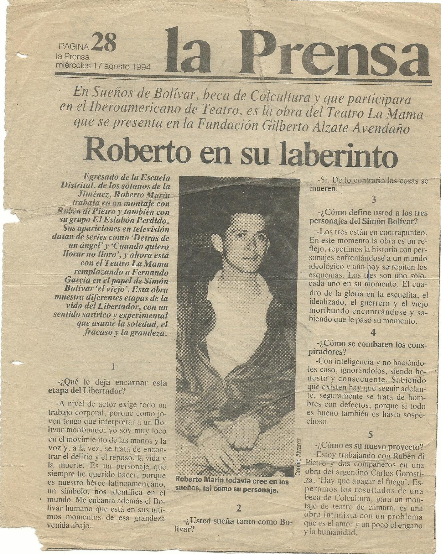 prensa Bolívar y manuelita
