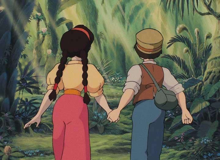 Un niño y una niña tomados de la mano se adentran en un terreno desconocido en la película el castillo volador de Miyazaki