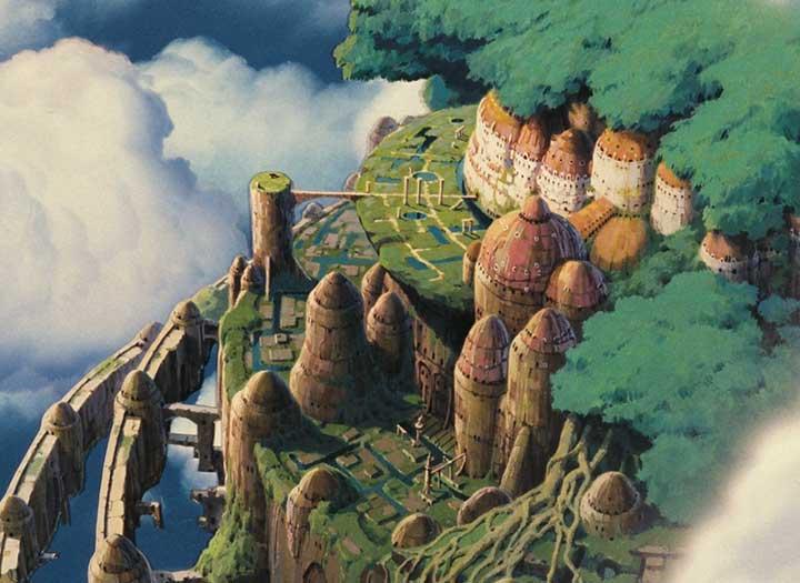 Un pedazo de tierra que sostiene un castillo se eleva por los cielos en la película el castillo volador de Hayao Miyazaki