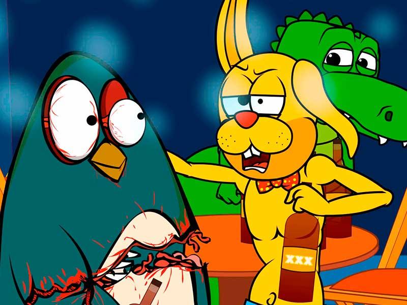 Tres animalitos en un antro en la serie animada Zootecnia