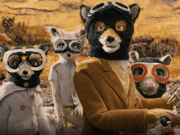 Un zorro y otros dos animales con máscaras de tela para robar en el Fantástico Sr. Fox