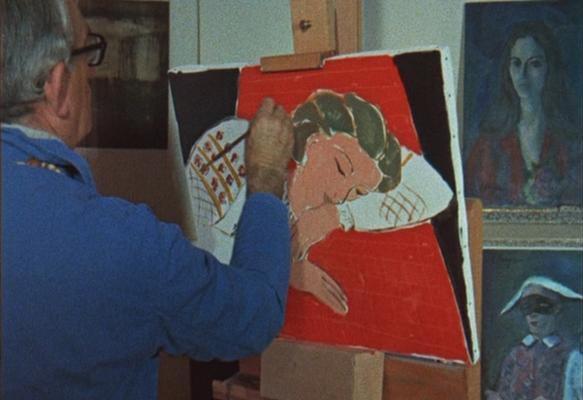 Elmyr de Hory trabajando en una falsificación de Matisse