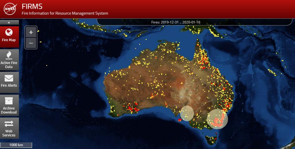 Los puntos rojos muestran en tiempo real los incendios que en este momentos están activos en Australia.