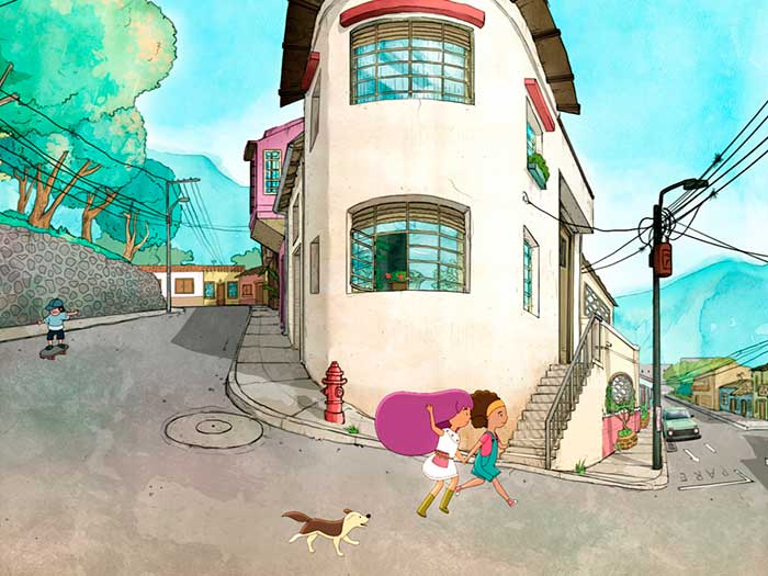 Un par de niñas y un perro corren por una calle en la película El libro de lila