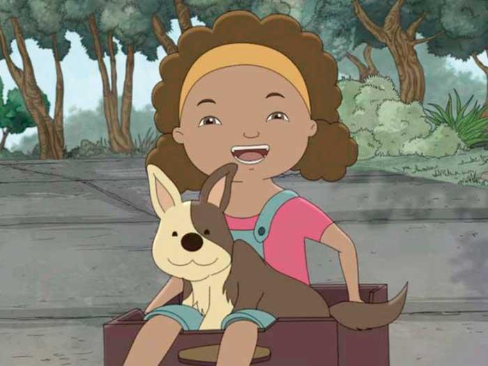una niña abraza a un perro en la película El libro de lila
