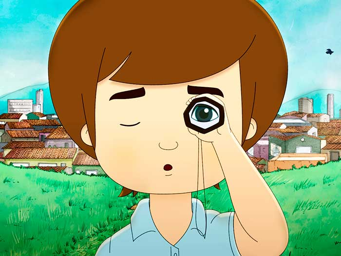 Un niño observa a través de un catalejo en la película El libro de Lila