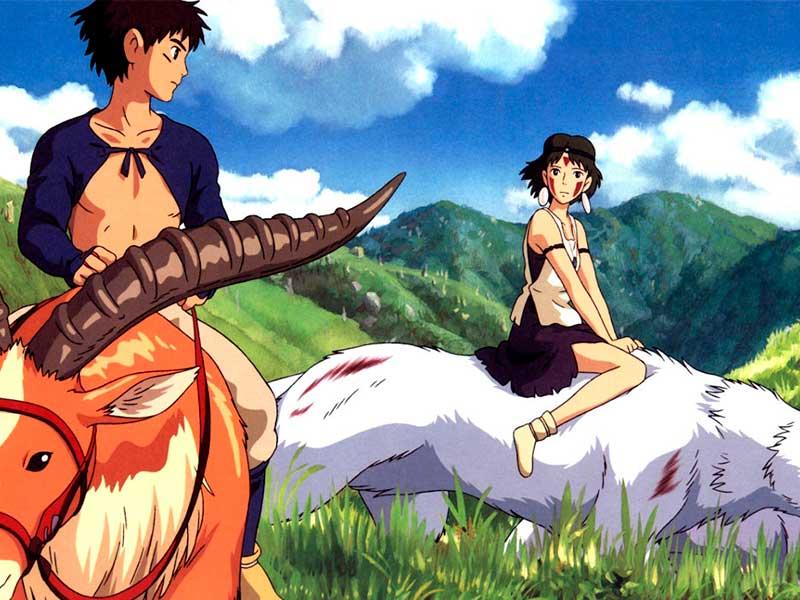 Una pareja de jóvenes montan animales silvestres en la película La princesa Mononoke