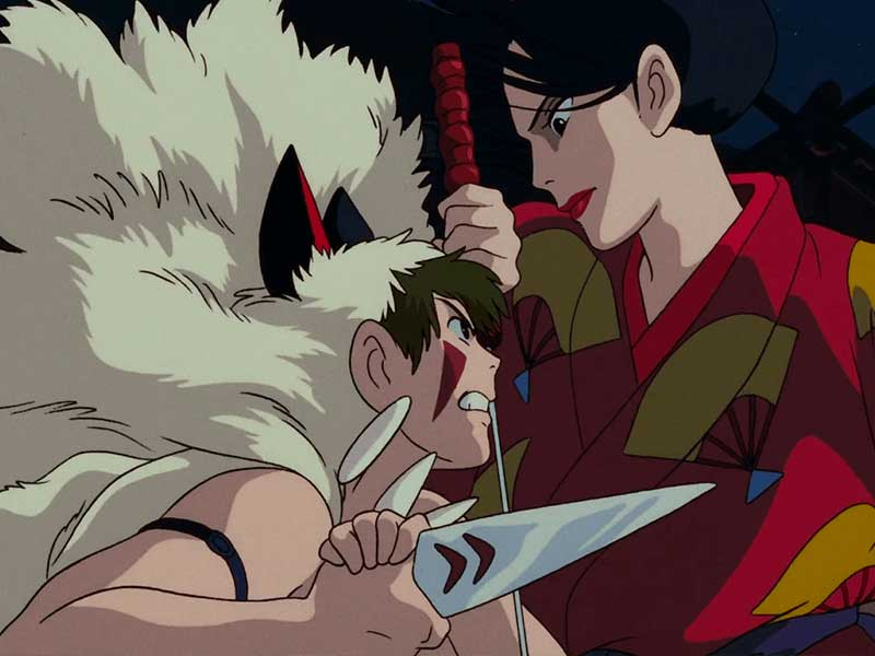 Dos mujeres se enfrentan en la película La princesa Mononoke
