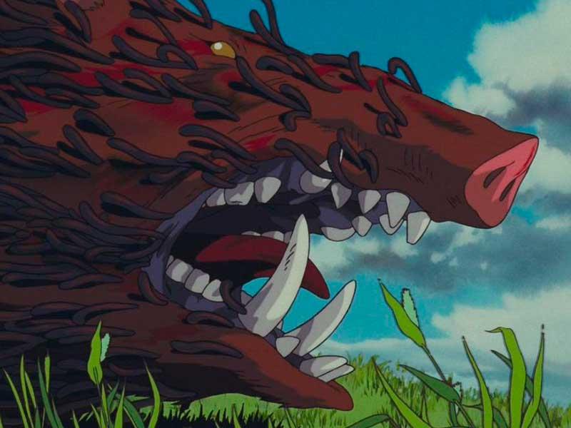 Un jabalí enfurecido, cubierto de gusanos ataca en la película La princesa Mononoke